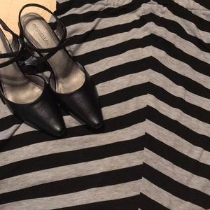Black and Grey Striped Skirt